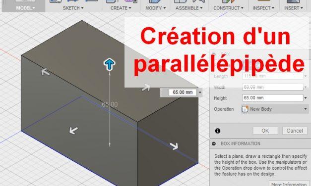 Création d'un parallélépidède avec fusion 360