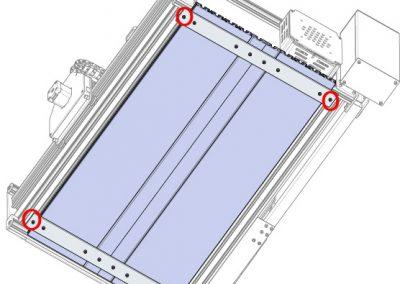 Vue de dessous table en aluminium